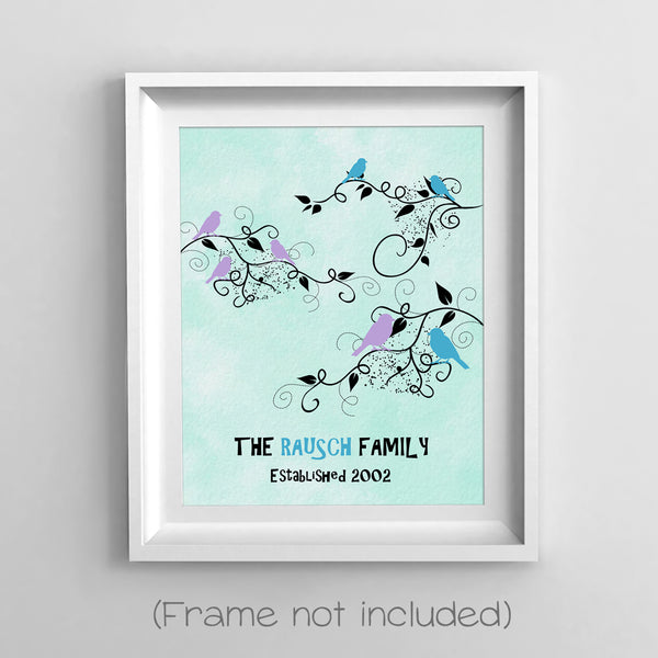 family tree print in frame