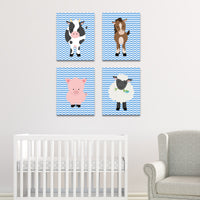 baby boy farm animal canvas