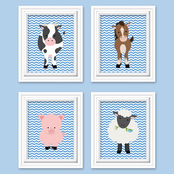 blue farm animal nursery pictures