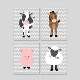 set of four nursery art prints with farm animals on grey chevron including a horse, cow, lamb, and pig.