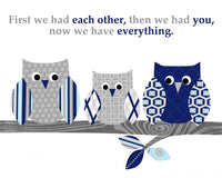 baby blue, gray and navy owl print