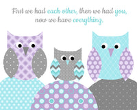 aqua and purple owl nursery decor