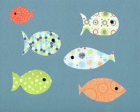 blue and orange fish nursery poster
