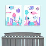 aqua, pink and purple set of 2 fish nursery prints