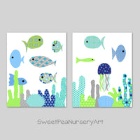 blue and green fish decor