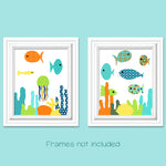 colorful set of 2 fish nursery pictures