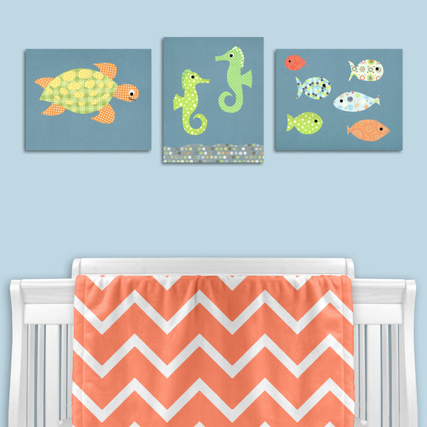 set of three fish nursery canvas prints
