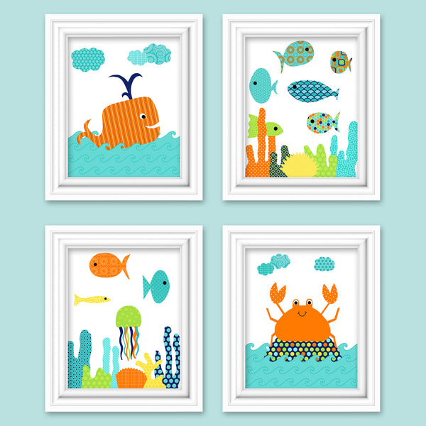 Set of four colorful fish nursery pictures