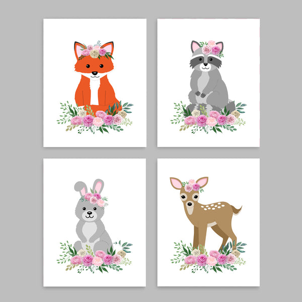 Printable Floral Boho Woodland Nursery Decor | Raccoon Fox Bunny Deer | Baby Girl Wall Art
