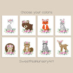 set of 8 boho style woodland animals with flowers