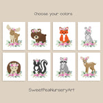 boho floral woodland animal nursery prints