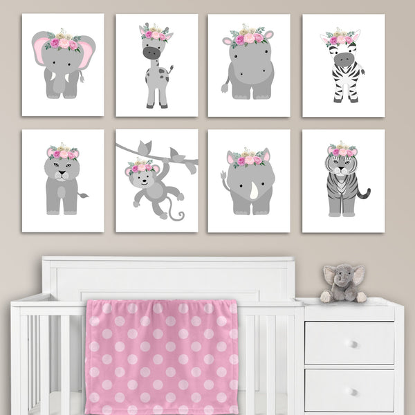 set of 8 floral zoo animal nursery art canvas prints