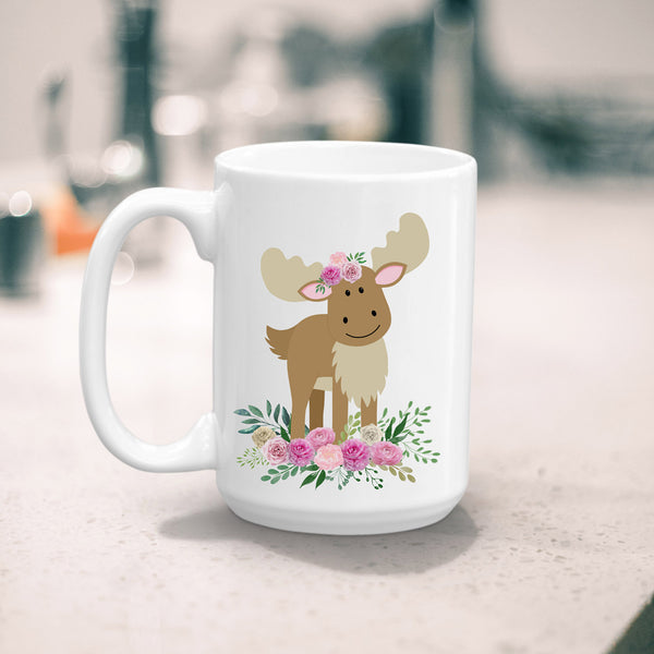 Boho Moose Coffee Mug, 11 or 15 oz, Ceramic Mug