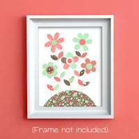 coral and mint floral nursery decor