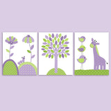 set of three green and purple nursery decor