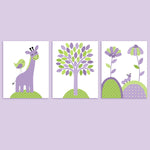 purple and green baby girl nursery art prints