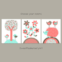 mint and coral woodland nursery prints