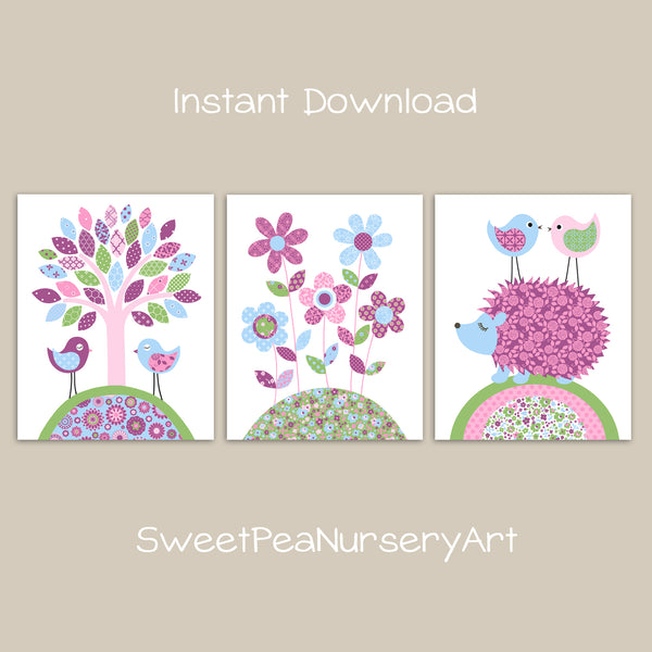 Printable Girl's Room Wall Art | Set of 3 | Instant Download | Mulberry Pink Green Blue | DIY