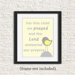 for this child we prayed scripture verse nursery art with bird in gray and yellow