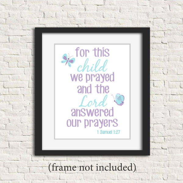 for this child we prayed scripture verse nursery art with butterflies in aqua and purple