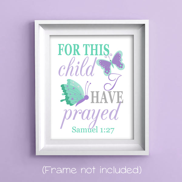 For this child I have prayed scripture nursery art