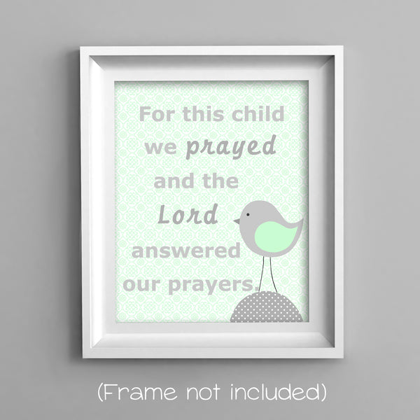 for this child we prayed with bird art print