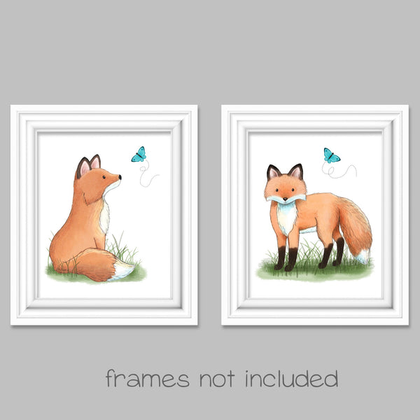 set of two fox watercolor woodland nursery prints