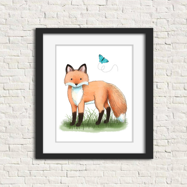 fox watercolor painting in frame, comes unframed