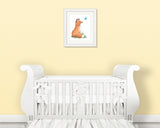 fox with butterfly nursery art print on wall in frame