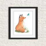 print of watercolor fox painting in frame, frame not included