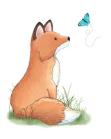 fox nursery art print watercolor painting fox watching butterfly