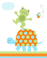 frog on turtle image for nursery