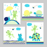 set of 4 frog and turtle nursery prints in navy, green, yellow and turquoise