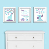 Set of three aqua and purple nursery art print