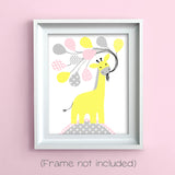 giraffe with balloons nursery print