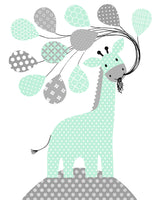 nursery print of giraffe with balloons in gray and mint