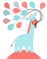 Nursery print of giraffe holding balloons in aqua and coral