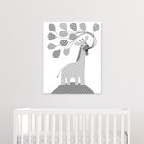 gray giraffe nursery canvas
