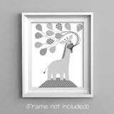gray and white giraffe nursery print