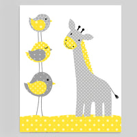 gray and yellow nursery print with giraffe and three birds