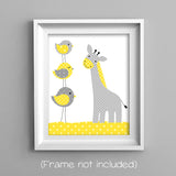 grey and yellow giraffe nursery print