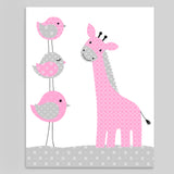 grey and pink giraffe nursery print