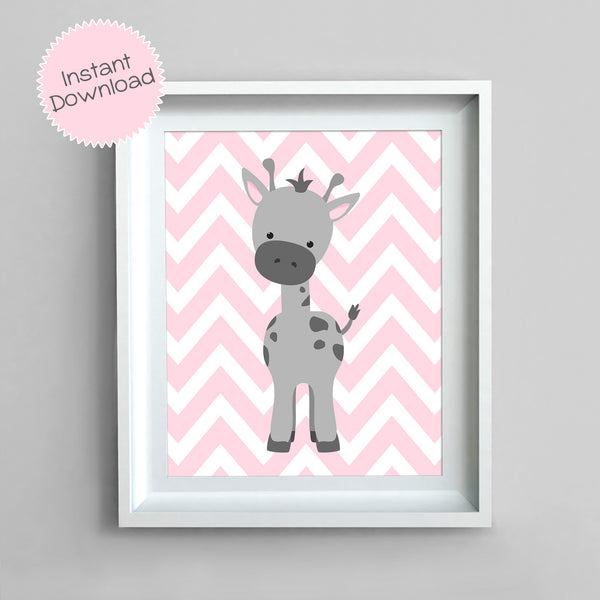 Printable pink and gray giraffe nursery print