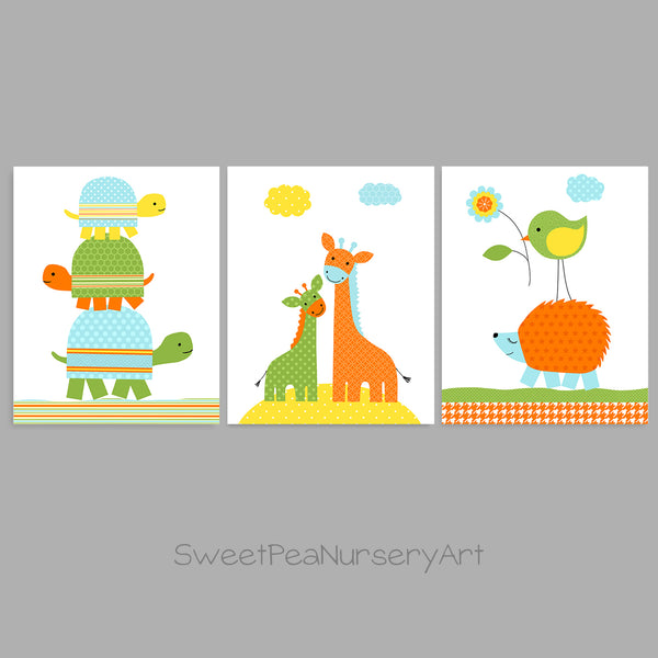 Baby boy nursery decor with turtles, giraffes and a hedgehog and bird.