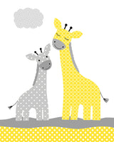 Art print with two giraffes, baby and mama, in grey and yellow.