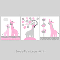 Grey and pink giraffe nursery art prints
