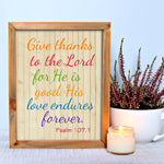 Psalm 107.1 thanksgiving print