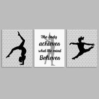 gray and white gymnastics canvas art