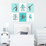 gray and teal gymnastics wall decor