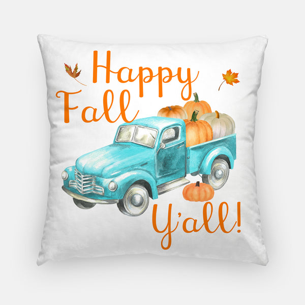 retro truck fall pillow